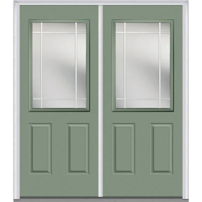 72 in. x 80 in. Classic Clear Glass PIM 1/2-Lite Painted Builder's Choice Steel Double Prehung Front Door