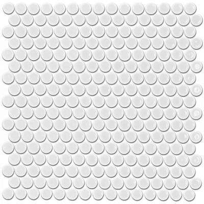 Bliss Penny Round White 12 in. x 12 in. x 10 mm Matte Ceramic Floor and Wall Tile