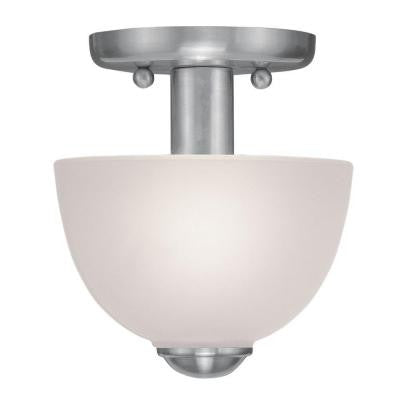 1-Light Brushed Nickel Flushmount with Satin Glass Shade