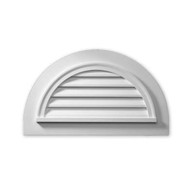 39 in. x 23 in. x 2 in. Polyurethane Decorative Half Round Louver with Flat Trim