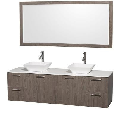 Amare 72 in. Double Vanity in Grey Oak with Glass Vanity Top in White and Porcelain Sink