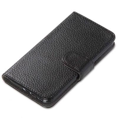 Leather Book Wallet Case for HTC One M9 Case - Black