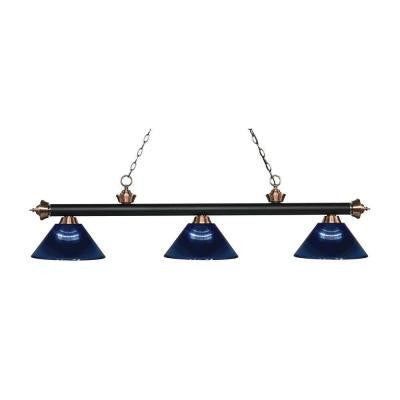 Kirik 3-Light Matte Black and Antique Copper Island Light with Dark Blue Shades