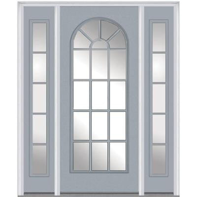 64 in. x 80 in. Classic Clear Glass Round Top Full Lite Painted Majestic Steel Prehung Front Door with Sidelites