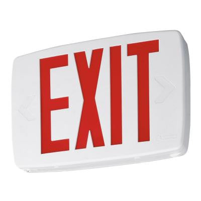 Quantum Red LED Thermoplastic Exit Sign with Extra Faceplate and Color Panel for Field Conversion to Double-Face