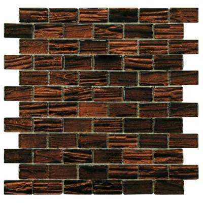 Aspen Subway Mahogany 12-1/2 in. x 12-1/2 in. x 5 mm Glass Mosaic Wall Tile