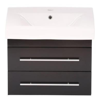 Lyon S 25 in. W Single Vanity in Black with Porcelain Vanity Top in White