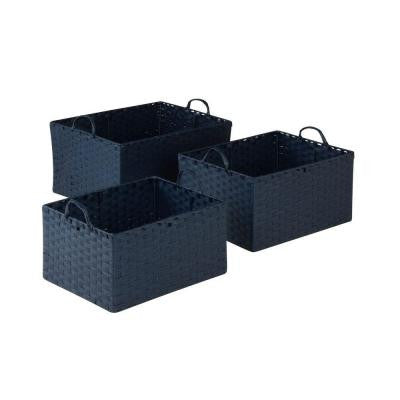 11.4 in. - 14 in. x 7.8 in. - 9.5 in. Blue Paper Rope Basket Set (3-Piece)