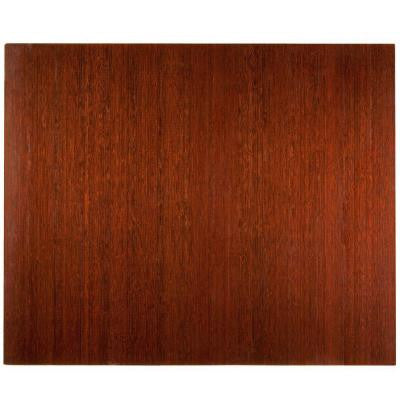 Deluxe Dark Brown Mahogany 48 in. x 60 in. Bamboo Roll-Up Office Chair Mat without Lip