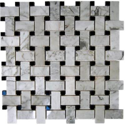 Magnolia Weave White Carrera 3/4 in. x 2 in. with Black Dot 1/2 in. x 1/2 in. Marble Floor and Wall Tile