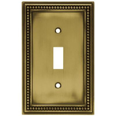 Beaded 1 Toggle Switch Wall Plate - Tumbled Antique Brass