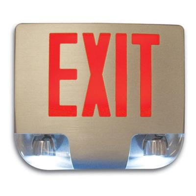 Nexis 2 Light Die Cast Aluminum LED Double Face Red Emergency Exit/Combo