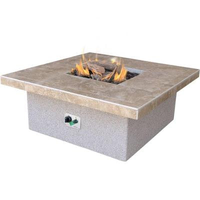Stucco and Tile Square Propane Gas Fire Pit