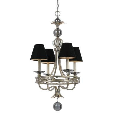 Candice Olson Collection, Cirque 4-Light Silver Glint Chandelier with Black Shade