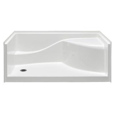 Coronado 60 in. x 30 in. Single Threshold Gelcoat Shower Pan in White