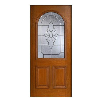 36 in. x 80 in. Mahogany Type Prefinished Cherry Beveled Patina Roundtop Glass Solid Wood Front Door Slab
