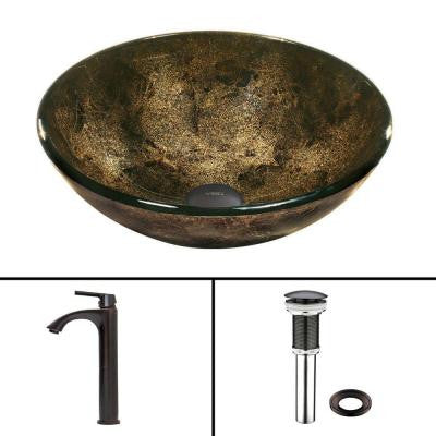 Glass Vessel Sink in Sintra and Linus Faucet Set in Antique Rubbed Bronze