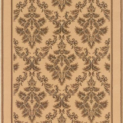 Kurdamir Damask Ivory 33 in. x Your Choice Length Roll Runner