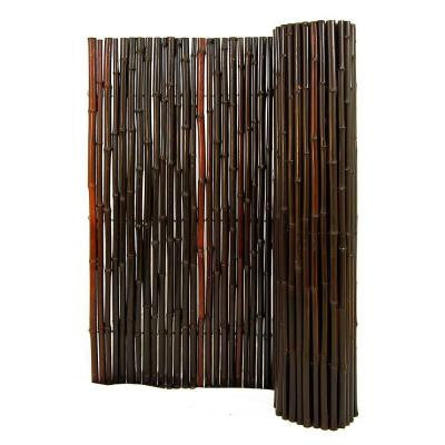 1 in. D x 4 ft. H x 8 ft. L Stained Mahogany Rolled Bamboo Fence