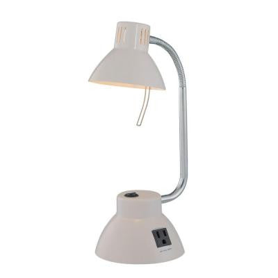 Designer Collection 16 in. White Desk Lamp with White Metal Shade