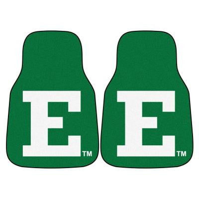 NCAA Eastern Michigan University Heavy Duty 2-Piece 18 in. x 27 in. Nylon Carpet Car Mat