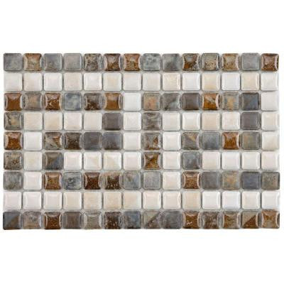 Rustica Mini Greek Key Perla 6 in. x 9-3/8 in. x 6 mm White and Multi Porcelain Listello Mosaic Floor and Wall Tile