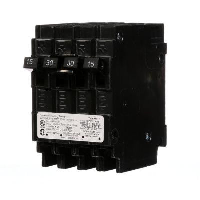 Triplex Two Outer 15 Amp Single-Pole and One Inner 30 Amp Double-Pole-Circuit Breaker