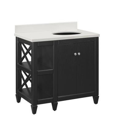 Hayes Contemporary 36 in. Vanity in Black with Cultured Marble in Off-White