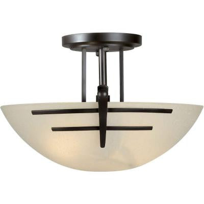 2-Light Antique Bronze Semi Flush Mount with Umber Linen Glass
