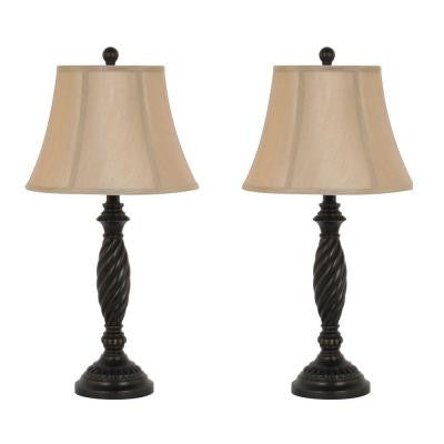 26 in. H Oil Rubbed Bronze Spiral Design Table Lamp Set with Linen Bell Shades