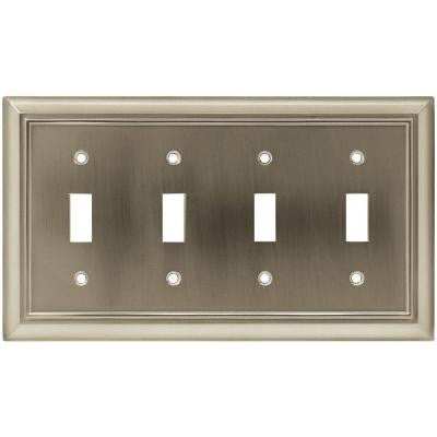 Architectural 4 Toggle Wall Plate - Satin Nickel