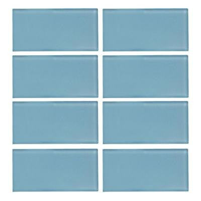 Caribbean Water Gloss 3 in. x 6 in. Glass Wall Tile