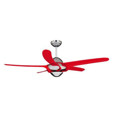 Uragano 54 in. Chrome Indoor Ceiling Fan with 5 Red Blades