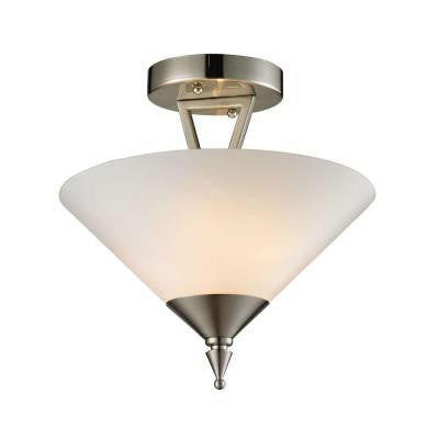 Tribecca 2-Light Brushed Nickel Semi-Flush Mount Light
