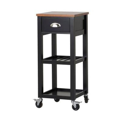 15.75 in. W MDF Mobile Kitchen Island Cart in Black with Drawer