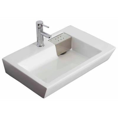 26-in. W x 18-in. D Above Counter Rectangle Vessel Sink In White Color For Single Hole Faucet