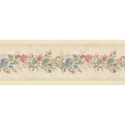 5 in. W x 180 in. H Alexa Beige Floral Meadow Border