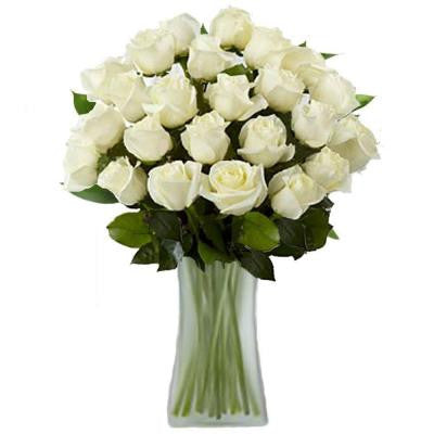 Gorgeous White Rose Bouquet in a Clear Vase (24 Long Stem) Overnight Shipping Included