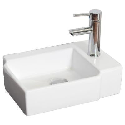 16.25-in. W x 12-in. D Wall Mount Rectangle Vessel Sink In White Color For Single Hole Faucet