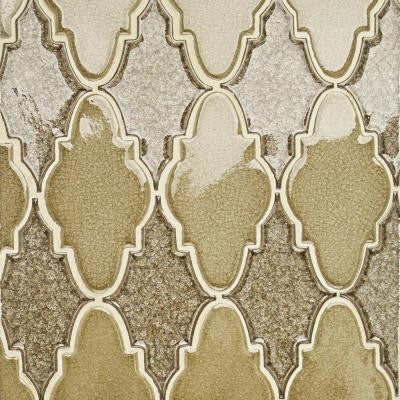 Roman Selection Iced Gold Arabesque Glass Mosaic Tile - 3 in. x 6 in. Tile Sample