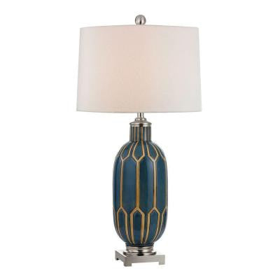 Glazed Ceramic 36 in. Blue and Off White Table Lamp with Shade