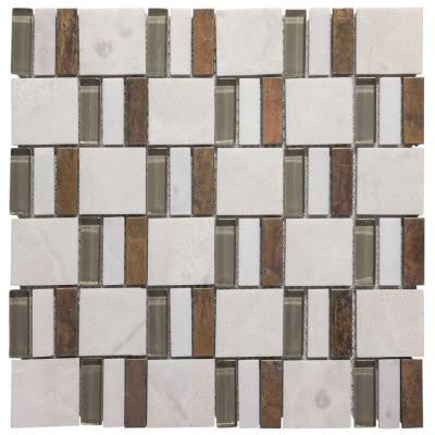 Silver Strips 11.75 in. x 11.75 in. x 8 mm Glass/Slate/Metal Mosaic Wall Tile