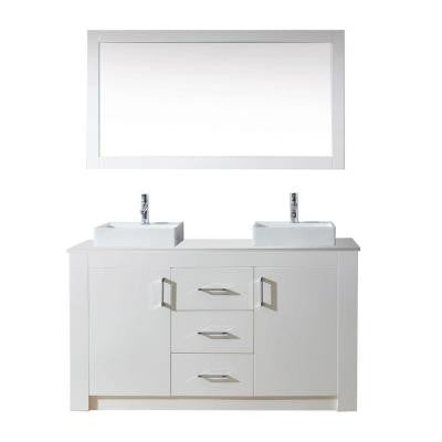 Tavian 60 in. Double Vanity in White with Stone Vanity Top in White and Mirror