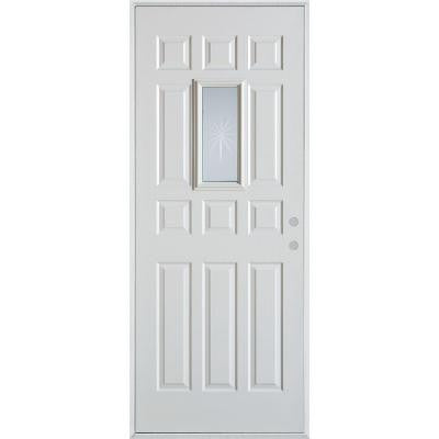 36 in. x 80 in. V-Groove Rectangular Lite 12-Panel Prefinished White Left-Hand Inswing Steel Prehung Front Door