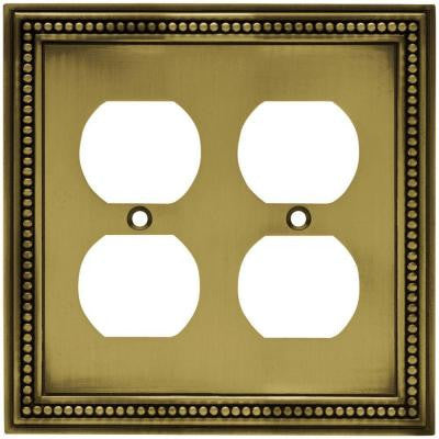 Beaded 2 Duplex Wall Plate - Tumbled Antique Brass