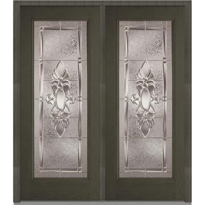 72 in. x 80 in. Heirloom Master Decorative Glass Full Lite Finished Oak Fiberglass Double Prehung Front Door