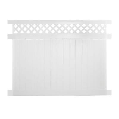 Colfax 7 ft. x 8 ft. White Vinyl Privacy Fence Panel