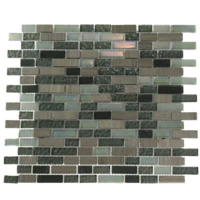 Galaxy Blend Brick Pattern 12 in. x 12 in. x 8 mm Marble and Glass Mosaic Floor and Wall Tile