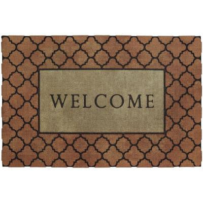 Welcome Fret 1 ft. 11 in. x 2 ft. 11 in. Recycled Rubber Door Mat