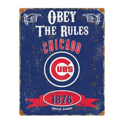 14.5 in. H x 11.5 in. D Heavy Duty Steel Chicago Cubs Embossed Metal Sign Wall Art